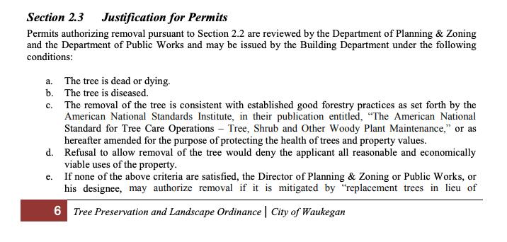 waukegan tree removal permit