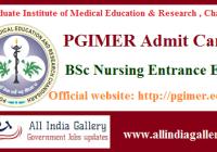 PGIMER BSc Nursing Entrance Admit Card