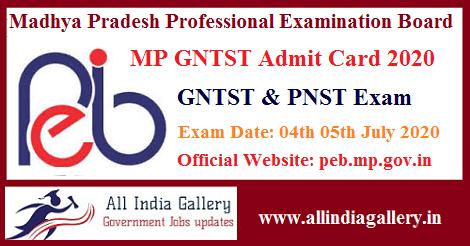 MP GNTST PNST Admit Card 2020