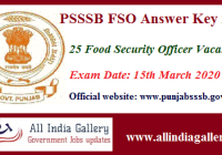 Punjab SSSB Food Safety Officer Answer Key 2020