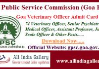 Goa PSC Veterinary Officer Admit Card 2020