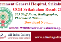 GGH Srikakulam Staff Nurse Result 2020