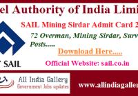 SAIL Mining Sirdar Admit Card 2020