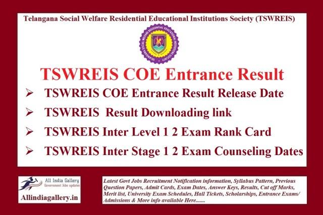 TSWREIS COE Entrance Result
