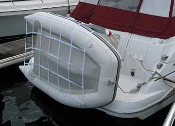 Inflatable boat accessories for inflatable boats including dinghy     tilt and trim units