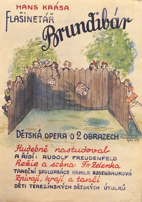a poster for Brundibar at Terezin, in watercolor by an unknown a