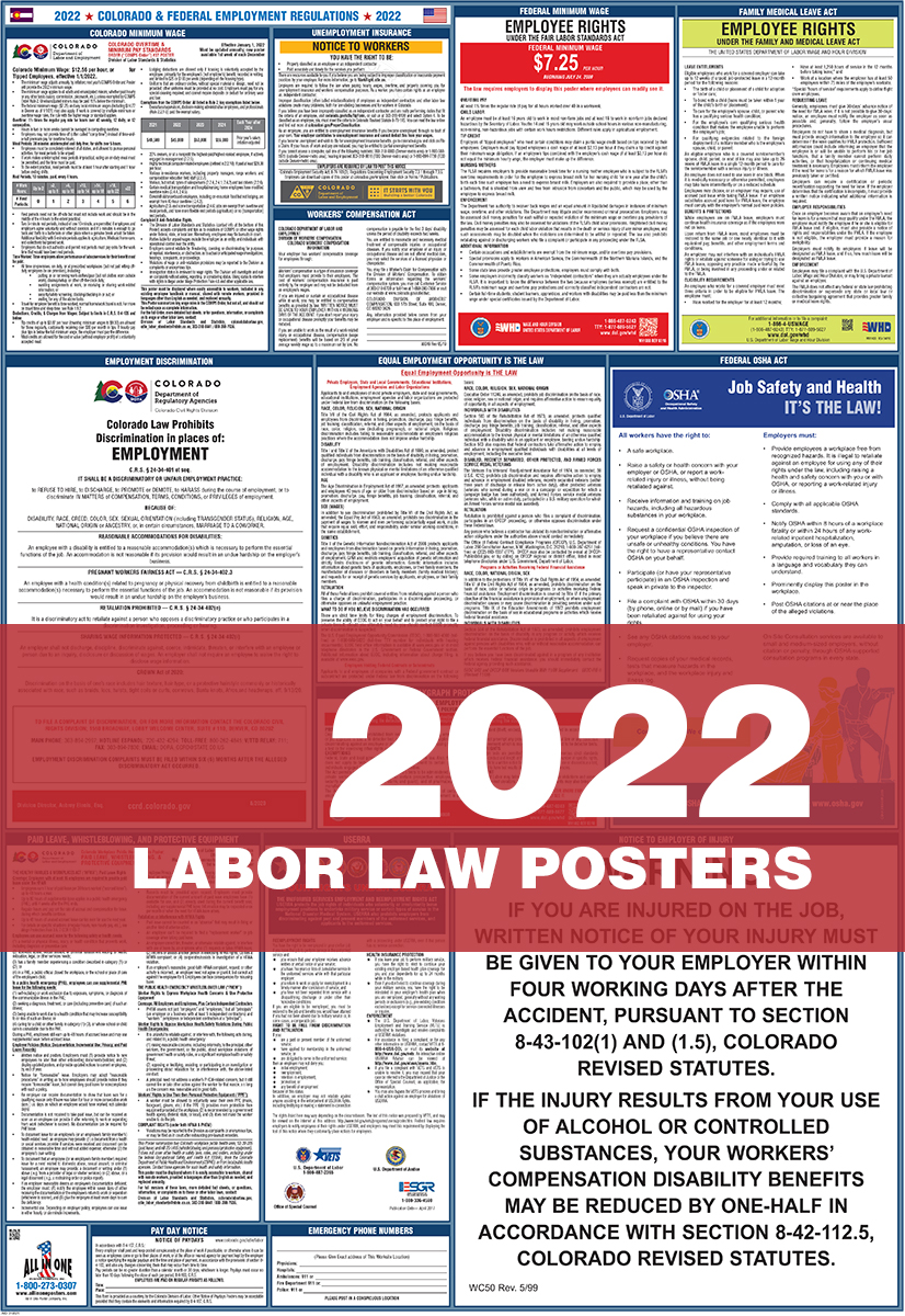 osha compliant all in one laminated poster 2020 colorado state and federal labor law poster includes ffcra poster english co state legal forms kits