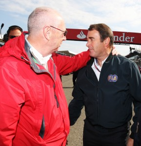 Peter Collins (GBR) (Left) with Nigel Mansell (GBR) FIA Steward (Centre). GP2 Series, Rd 5, Race 2, Silverstone, England, Sunday 10 July 2011.