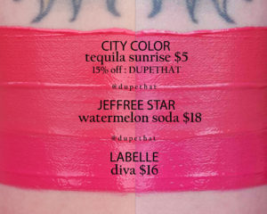 Jeffree Star Watermelon Soda Velour Liquid Lipstick Dupes