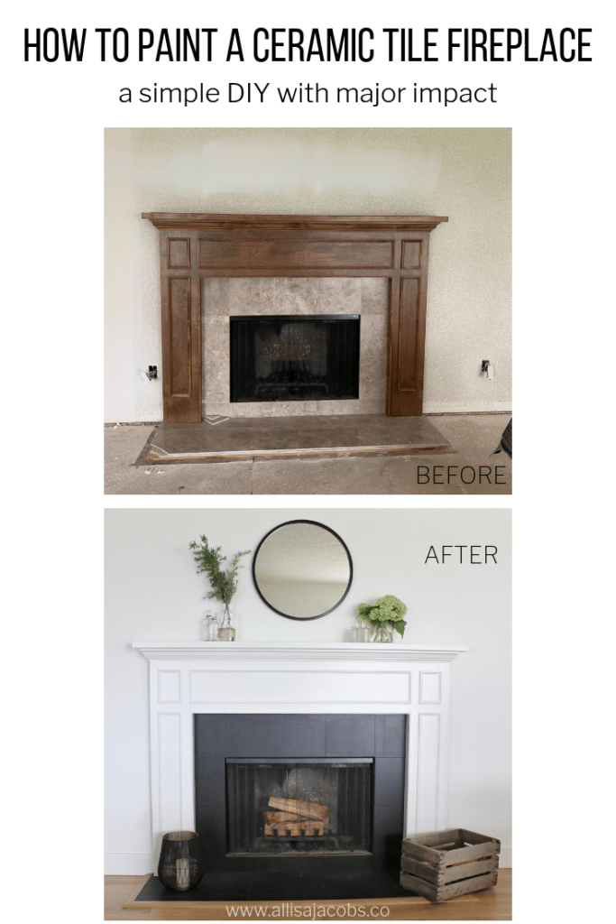 how to paint a ceramic tile fireplace