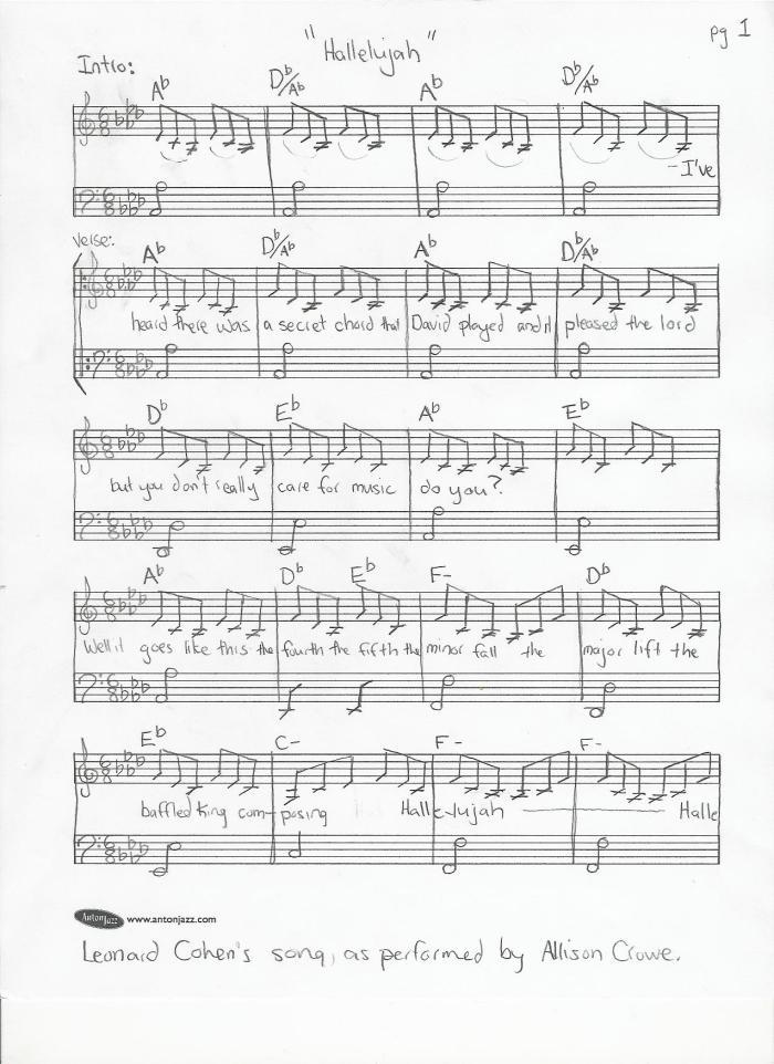 Piano Leonard Cohen Hallelujah Piano Sheet Music Leonard Cohen In