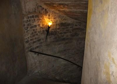 brick-lined stairway underground