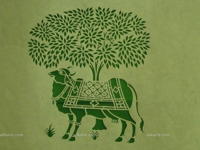 Sanjhi Art Cow with Tree Painting