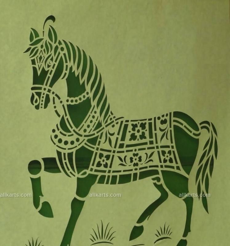 Sanjhi Art Horse Wall Hanging