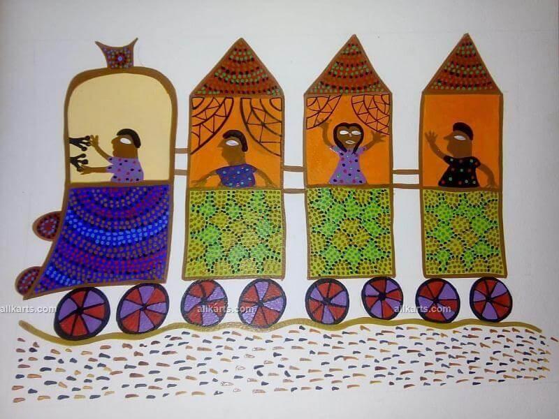 Passenger Train Bhil Art