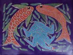 Fish and Tortoise Bhil Art