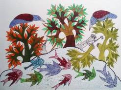 Woodcutter Near Pond Gond Painting