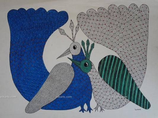 Gond Painting of Peacocks