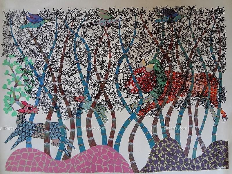 Lion Chasing Deer Gond Painting
