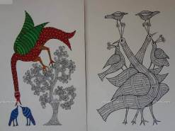 Birds and Peacocks Gond Paintings