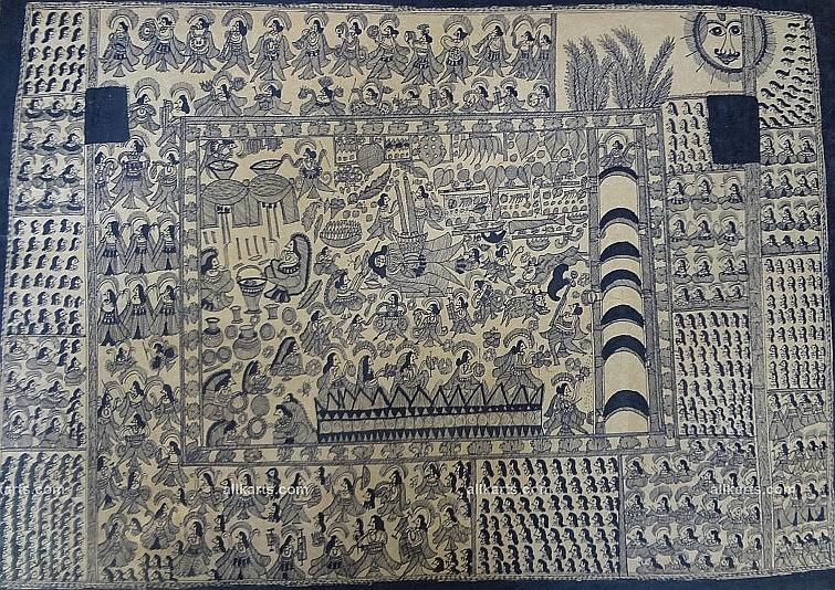 Madhubani Village Life Painting