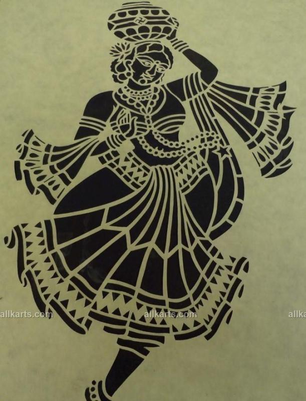 Sanjhi Art Lady with Matka Painting