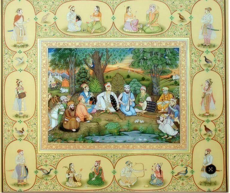 The Nine Gems (Navratnas) of Emperor Akbar Miniature Painting