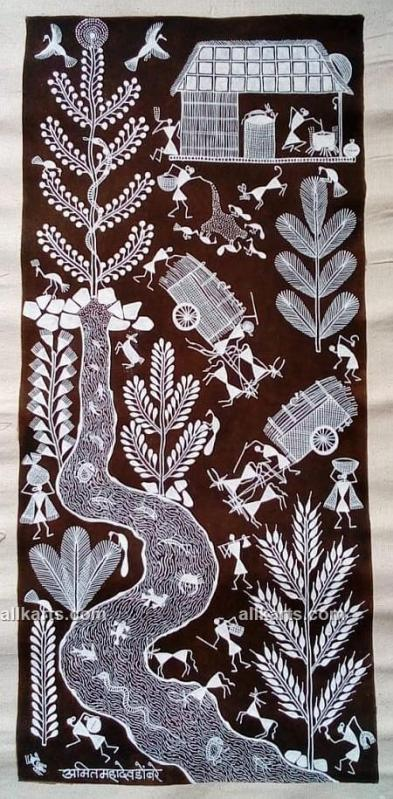 Warli Village Life Painting