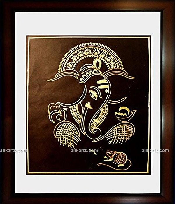 Lord Ganesha with Mushak Wall Hanging Made of Sikki Grass