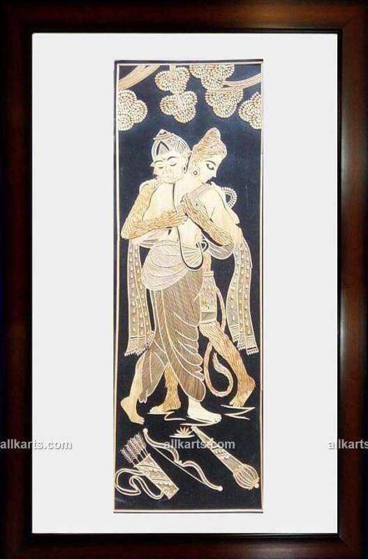 Lord Rama and Hanuman Ji Wall Hanging Made of Sikki Grass