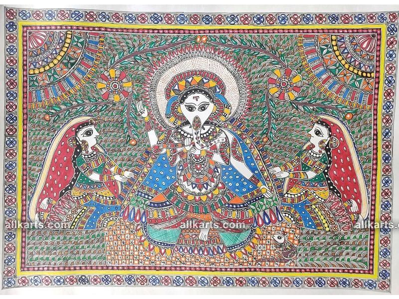 Madhubani Painting of Lord Ganesha with Riddhi Siddhi