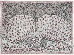 Two Peacocks Madhubani Painting