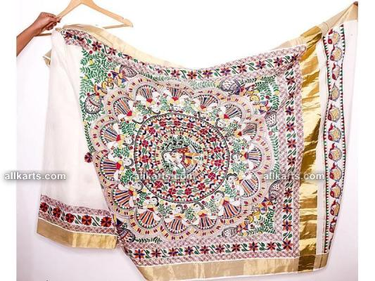 Madhubani Hand Painted Saree