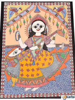 Madhubani Painting of Maa Saraswati