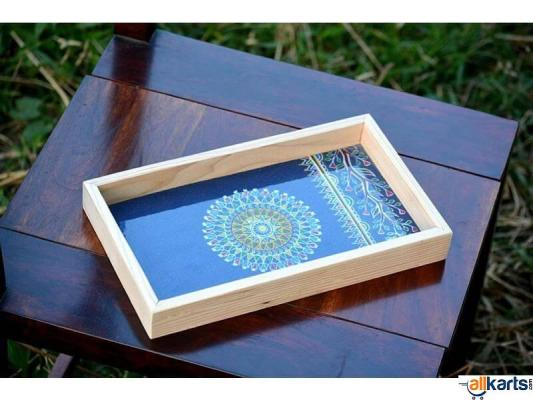Wooden Tray with Tribal Art