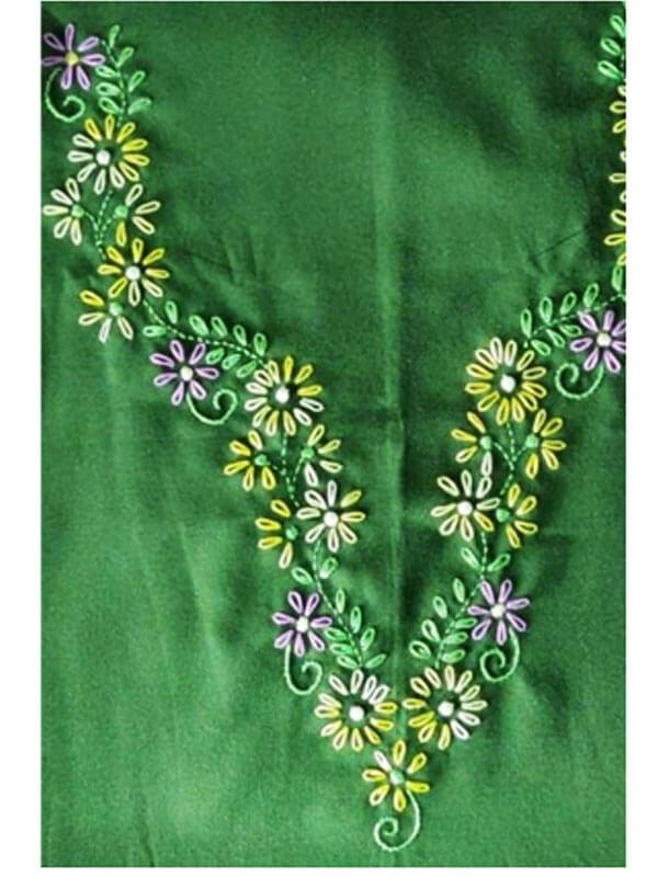 Chain & Stem Stich Hand Embroidery Kurti