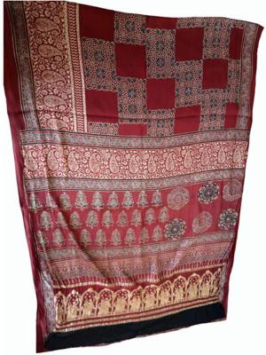 Ajrakh Saree with Designer Pallu