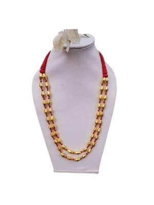 Metal Golden Dholki Beads Necklace