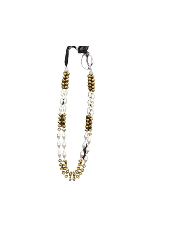 Metal Silver and Golden Dholki Beads Necklace