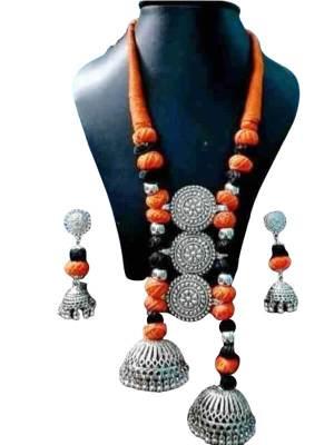 Oxidized Cotton Balls Jewellery Set