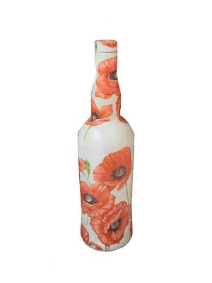 Glass Bottle with Decoupage Craft