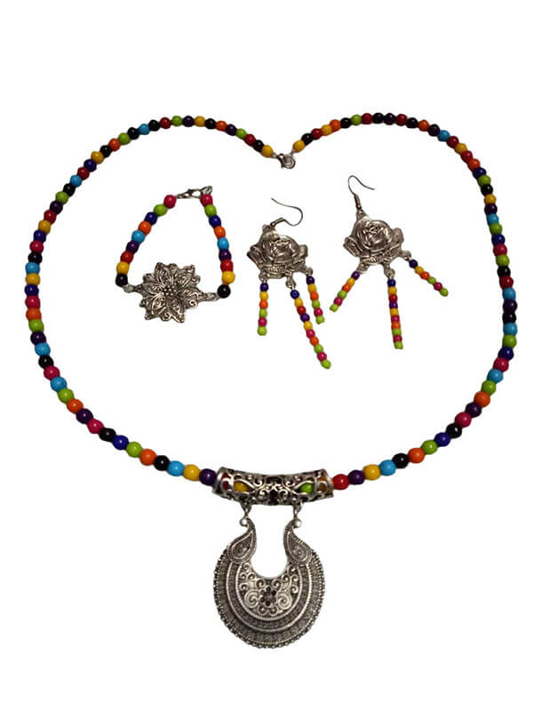 Wooden Beads with Oxidized Pendant Jewellery Set