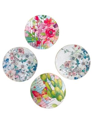 Set of 4 Wooden Coasters with Decoupage Art