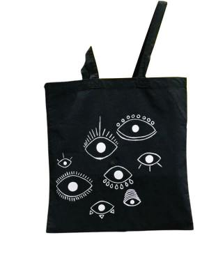 Hand Painted Tote Bag with Eye for an Eye Design