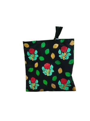 Hand Painted Tote Bag with Rose Design