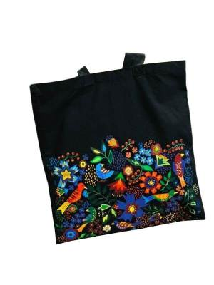 Hand Painted Tote Bag with Evergreen Life Design
