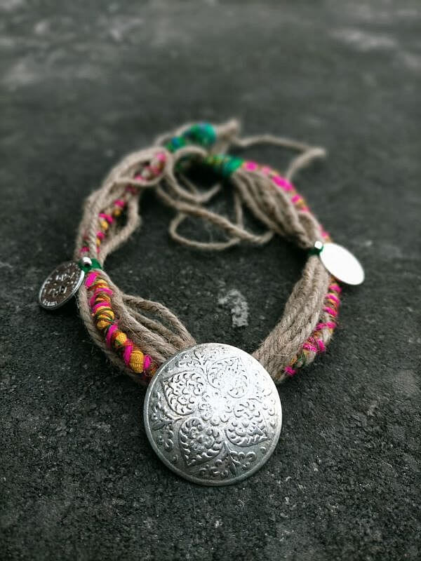 Handmade Jute Necklace with German Silver Pendant