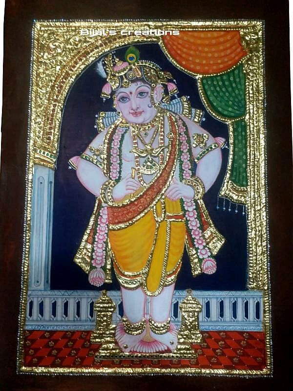Bal Krishna Tanjore Painting with Gold Foil on Waterproof Board