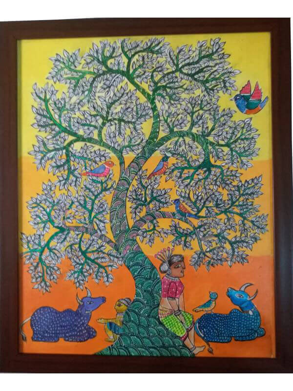 Gond Painting of Tree of Life with Cattle, Birds and Human Done on Canvas with Acrylic Colors