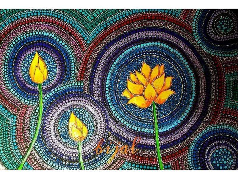 Golden Lotus (Symbol of Lord Buddha) Dot Painting Done on Black Paper